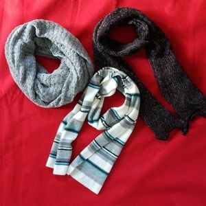 Accessories - Lot of 3 Knit Scarves Gray/Black/Turquoise